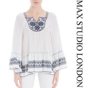Max Studio London Womens Embroidered Knit Blouse S